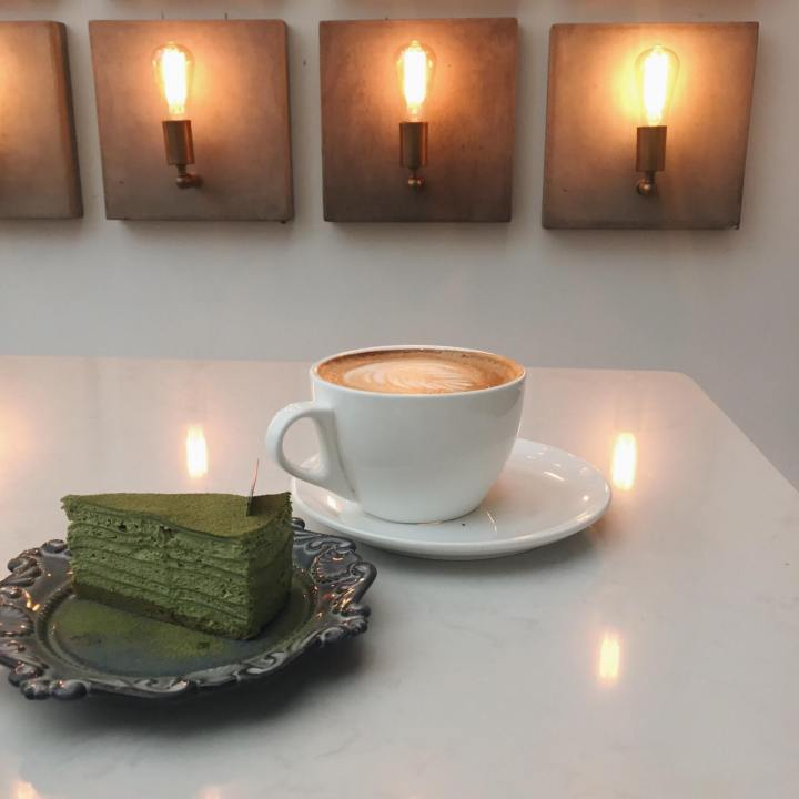 RGF Cafe Matcha Crepe Cake and Coffee