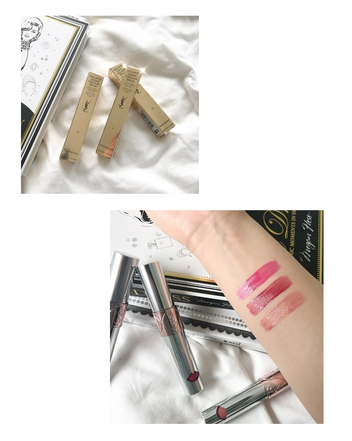 YSL Volupte Liquid Colour Balm Swatches and packaging