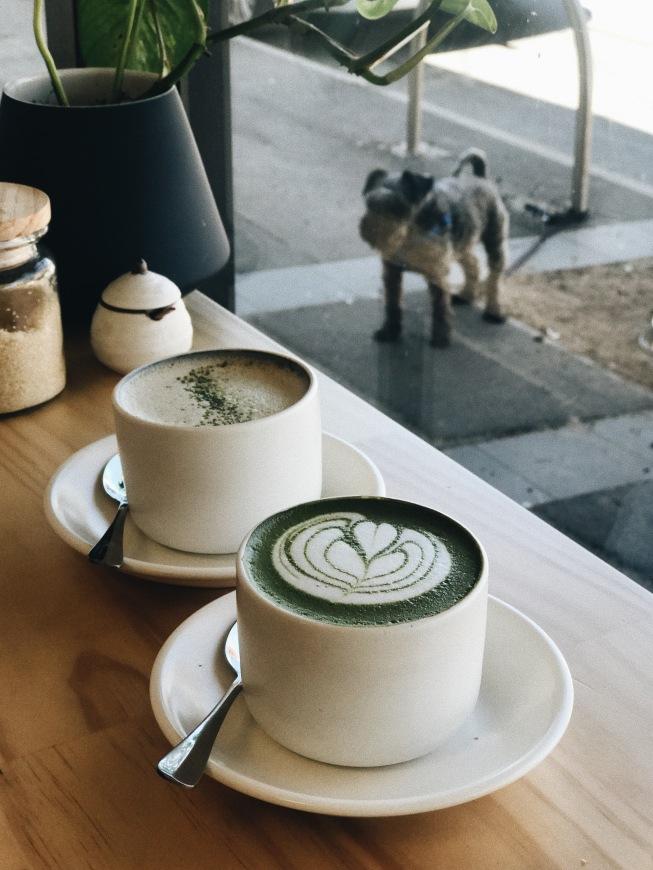 matcha latte hojicha latte hibiki brunch melbourne australia cafe coffee