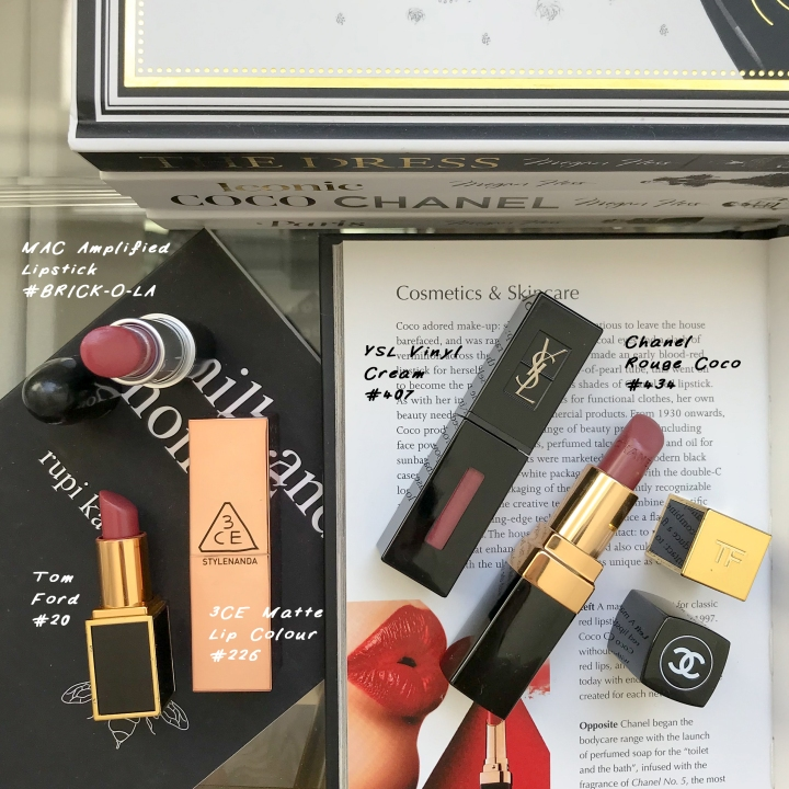dusty rose mauve lipsticks ysl vinyl cream lip stain chanel rouge coco mademoiselle MAC brick-o-la tom ford #20 richard 3ce matte lip colour #226 review and swatch