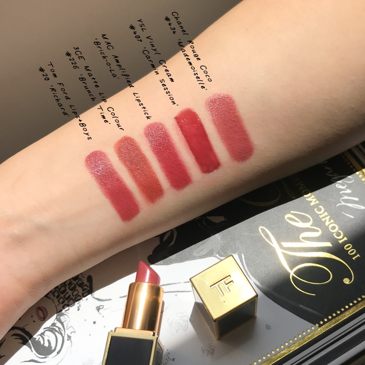 dusty rose mauve lipsticks ysl vinyl cream lip stain chanel rouge coco ysl vinyl cream carmin session MAC brick-o-la 3CE matte lip colour brunch time tom ford beauty #20 richard swatches and review